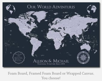 Couples Travel Map Sticker Map Personalized Map Friend Gifts for Christmas Friend Engagement Gifts for Friend Unique Gift