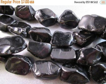 ON SALE 15% OFF Black Obsidian Nuggets Beads 13pcs