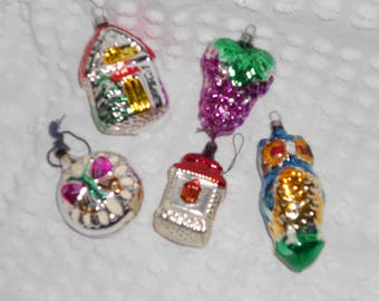Choice of 5 Large Vintage Glass Christmas Ornaments - Big House, Grapes, Owl, Small House, OR Butterfly - Choose one or All - Ready to Ship