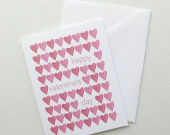 Valentines Day Greeting Card - Red Watercolor Hearts - Happy Valentine's Day Blank Inside