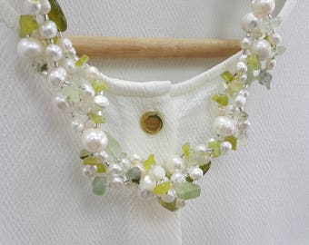 Chunky Pearl & Gemstone Necklace Elegant Green Jasper Prehnite Assorted Gemstones Freshwater Pearl Necklace Mother's Day Gift Birthday Gift