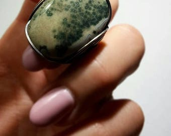 SALE Green Ocean Jasper Ring, Size 8, Size 8.5, Size 9, Ready to Ship, Oxidized Sterling Silver, Finger Candy, Bohemian Stone Ring, Fossil R
