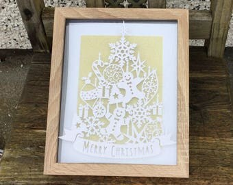 CHRISTMAS TREE PAPERCUT wall art, home decor, designed by tommy&tilly