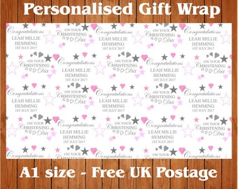 Personalised Christening Wrapping Paper & 2 tags