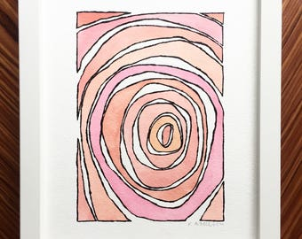 Abstract watercolor, abstract painting, watercolor painting, small painting, pink art, original painting, abstract art, pink home decor