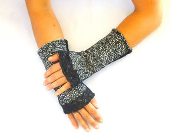 Fingerless gloves arm warmers retro Black Heather Black Lace
