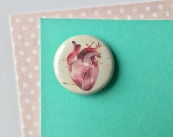 24mm badge / pin/ anatomical heart