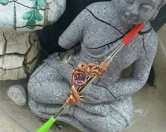 Amethyst / Tourmaline Facet Dab tool wrapped in copper