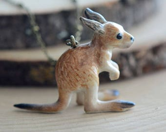 Hand Painted Porcelain Kangaroo Necklace, Antique Bronze Chain, Vintage Style, Ceramic Animal Pendant & Chain (CA130)