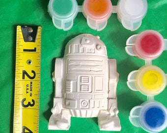 """Star wars party favors,Star Wars party activity,R2D2.DIY.  Large 4""""with paint and brush.Boys,girls,gift bags."""