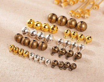 White Silver/Gold/Antique Bronze/Mixed Jingle Bells Christmas Charms 6/8/10/12mm Decoration DIY Jewelry Finding