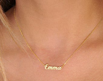 Tiny Name Necklace -Gold Name Necklace-Personalized-Custom Name Necklace -Jewelry- Gift-Personalized Bridesmaids Necklace-Bridesmaid Gift