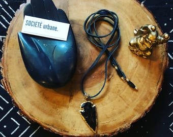 Leather choker necklace, Obsidian Pendant, Double wrap choker, Arrowhead Necklace /Boho/Minimalist/ Cool Jewelry By Societe Urbane SU028