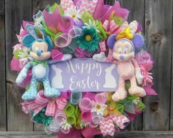 Mickey mouse Easter wreath, Minnie mouse Easter wreath, spring wreath, Easter wreath, Easter door hanger