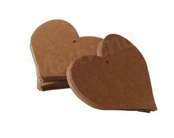 Set of 25 tags in cardboard Brown heart shape