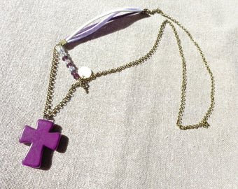 Purple bronze cross pendant necklace