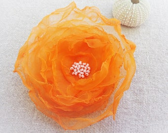 Orange fascinator Hat bibi wedding ceremony big orange flower - ninette barrettes alligator hair clip