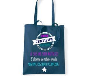 "Tote bag Navy Blue ""certified super teacher"""