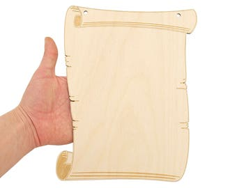 Wooden Vintage Parchment Scroll (25cm) Shape Wood Banner Sign Craft Embellishments Hanging Decoration Gift MG000631