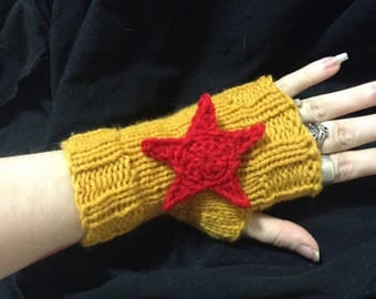 Wonder Woman Gauntlet Fingerless Gloves - Hand-knit Arm Warmers