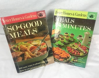 Vintage Better Homes and Garden Cookbooks, Creative Cooking Library, So Good Meals,Meals in Minutes,Mid Century recipes, Kitchen decor