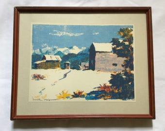 Vintage Foster Hyatt Southwest Barn Scene Framed Print