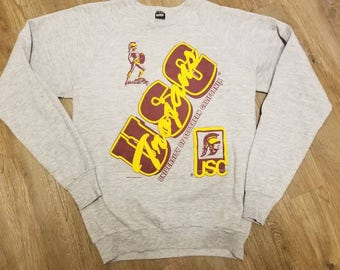 Large 80s USC vintage crewneck sweater, University of southern California, screen stars crewneck sweater ,80s fashion