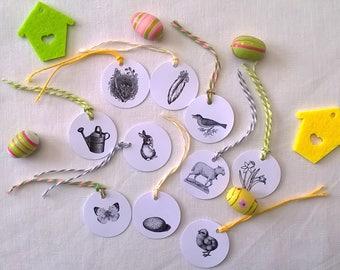 Ten mini Easter white round labels