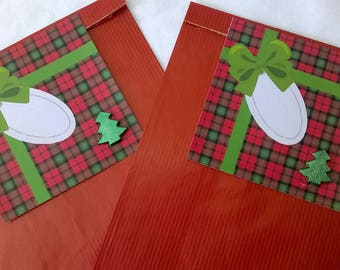 2 red Christmas gift bags, gift tag Plaid Green Ribbon