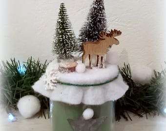 Deer in forest, trees, Star zinc candle