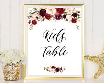 Kids Table Sign, Kids Table Wedding, Burgundy Wedding, Wedding Kids Table, Burgundy Table Sign, Table Sign, Wedding Table Signs, Marsala