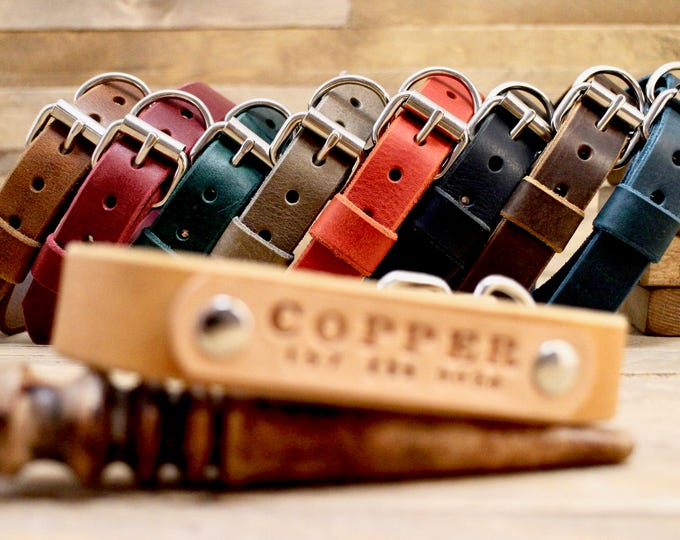 Leather dog collar, FREE ID TAG, Distressed leather collars, Handmade collars, Dog gift, Personalised gift, Raven collar, Colours collar