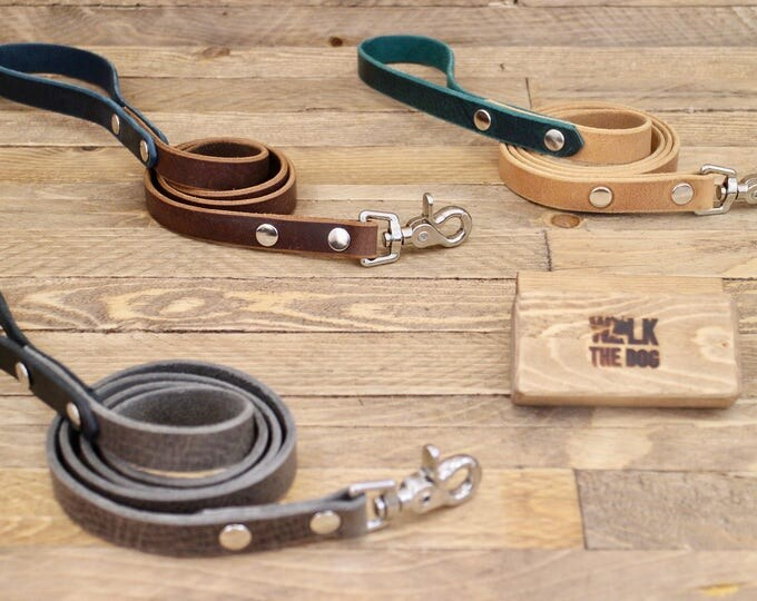 Leather leash, Dog leash, Dog lead, Handmade dog leash, Dog walk, Lead, Everyday lead, Leash, Dog gift, Blue leash.