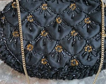Vintage 1930's K & G CHARLET Evening/Opera Bag Black Satin With Topaz Accents-Gold Brass Frame Iridescent Jeweled Clasp