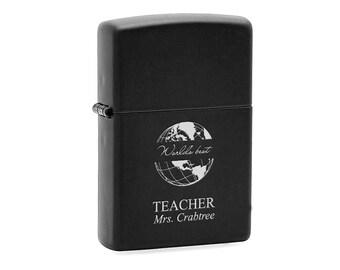Black Engraved Zippo Lighter for Teacher - Personalized World's Best Teacher Lighter - Gift for Professor - Cigarette Lighter Teacher Gift
