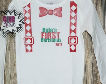 Christmas Bodysuit Infant  baby Unisex Cotton  t-shirt vinyl reindeer holiday xmas personalized suspender first 2017