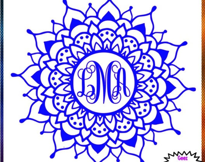 Mandala Monogram vinyl decal car tumbler cup decal personalized Script Frame Customized