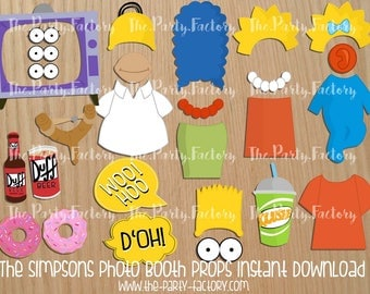 The Simpsons Photo Booth Props Instant Download, Digital File, PDF, Printables