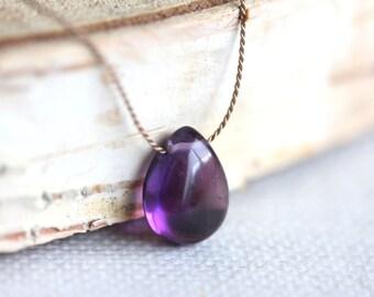 Amethyst Necklace, Silk Cord, Sterling Silver, Purple Gemstone, February Birthstone