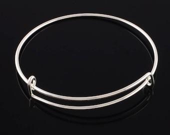 2 Silver Tone Brass Expandable Charm Bangle Bracelets 65mm (B480d)