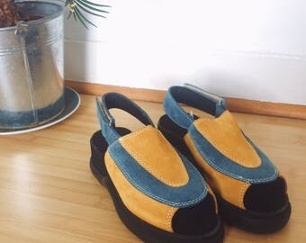Blue and Yellow Suede Platform Sandals
