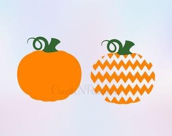 Pumpkin svg, Halloween svg, Thanksgiving svg, fall svg. Cut files for Silhouette cameo and Cricut. Chevron pumpkin monogram svg, dxf, png