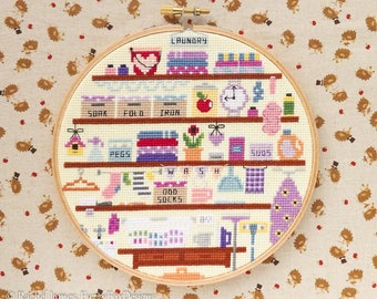 Cute Laundry Cross Stitch Pattern PDF | Wash Room | Cute Room Cross Stitch Series | Easy | Modern | Beginners Counted Cross Stitch Pattern