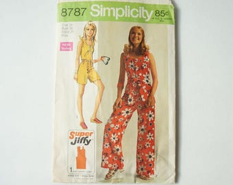 1970 Vintage Simplicity Paper Sewing Pattern 8787 Misses' Super Jiffy Jumpsuit In Two Length Size 14 Bust 36