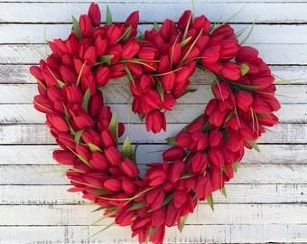 Valentine's Day Wreath, Red Tulip Heart Wreath, Winter Wreath, Spring Wreath, Front Door Wreath, Tulip Wreath, I Love You Wreath