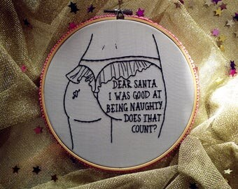 Dear Santa Hoop Art, Embroidery Art