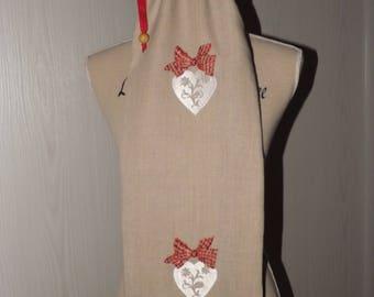 """Romantic """"hearts"""" linen bread bag"""