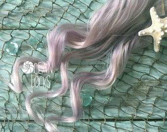 Human Hair Extensions, Clip In Hair, Pastel Hair, Lilac Hair, Silver Hair, Lavender Hair,Mermaid Hair, Ocean Locks Hair