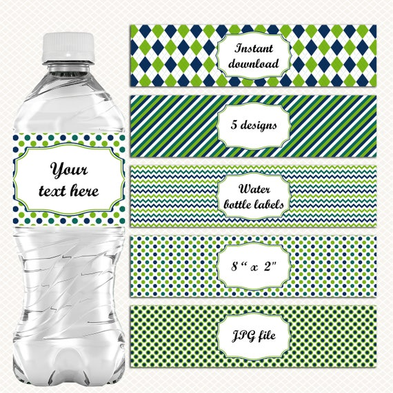 Water Bottle Name Tags: Water Bottle Labels. Green And Blue. Editable Tags. Golf Party