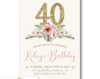 chic 40th birthday invitations womens birthday party invites elegant invitations 30th 40th 50th - Elegant Party Invitations
